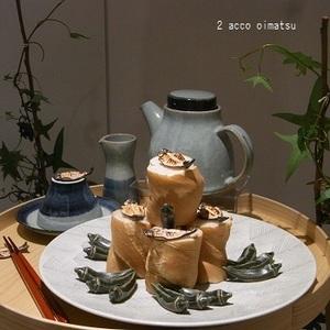 window-干物箸置と再生陶器ポケラ(お麩).JPG